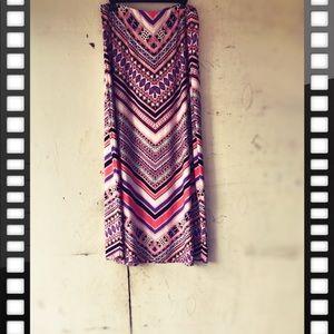 Eci NewYork Maxi Pink & Purple Elastic Waist Skirt
